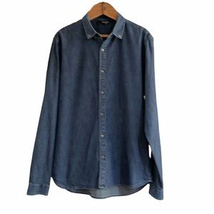 The Kooples Men's Denim Fitted Snap Front Shirt